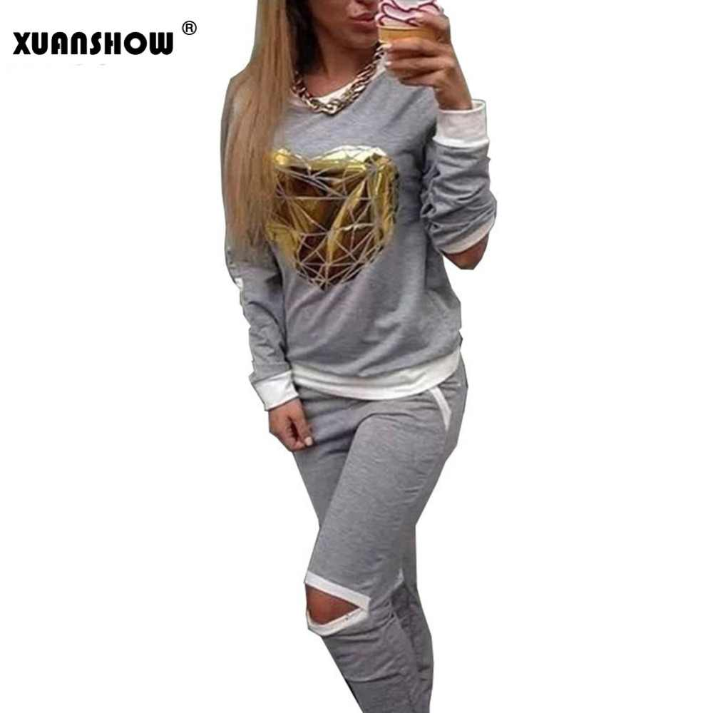 XUANSHOW 2018 Hot Gold Heart Hollow Out Lady Trainingspak Vrouwen Hoodies Sweatshirt + Broek Sportkleding Kostuums trainingspak 2 stuk set