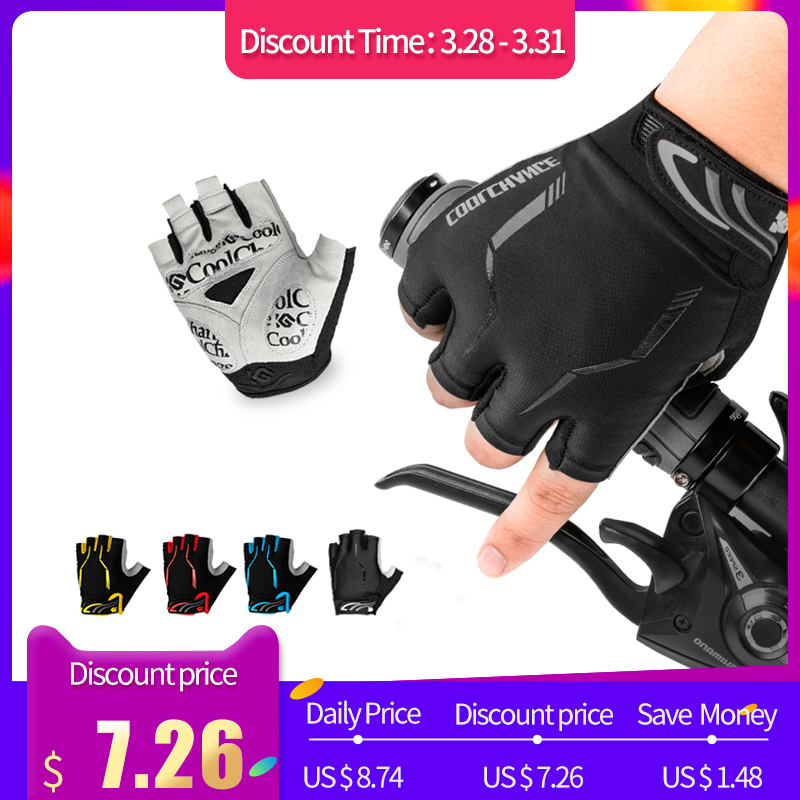 CoolChange Cycling Bike Half Finger Gloves Shockproof Breathable Unisex Nylon Mountain Bicycle Gloves Sports Gloves Accessories