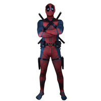 High Quality Adult Superhero Cosplay Deadpool Costume Adult Digital Print Lycra Onesie Deadpool Costume for Halloween Cosplay