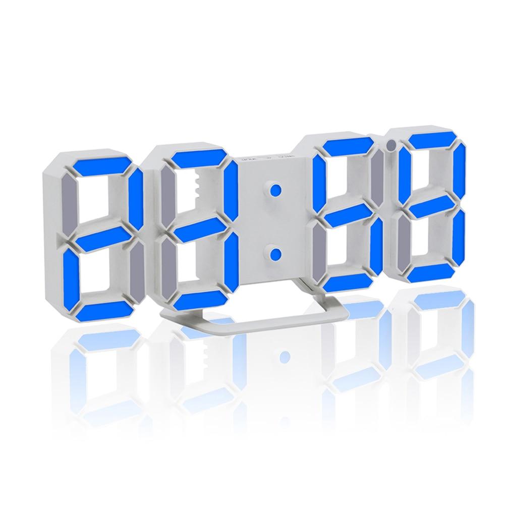 3D LED Digital Wall Clocks Hours Temperature Display Brightness Adjustable Night Light Electronic Alarm Clock For Home Office