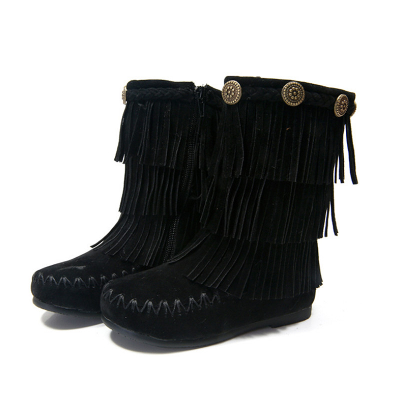 High Quality 2015 New Winter Girls Black Fringe Boots Girls ...