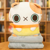 Cute cantoon pillow blanket of cat and rabbit for lunch break in the office gifts for birthday or girls