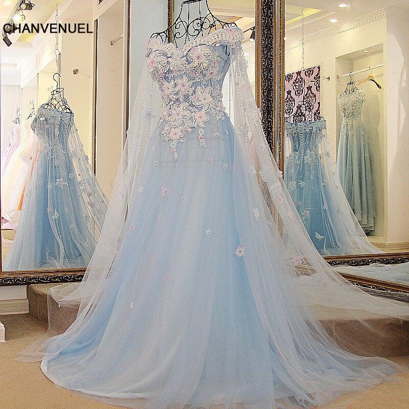 LS68872 fest lång klänning med cape korsett tillbaka kort ärmar 3D blommor ljusblå kvällsklänningar långt till salu