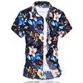 Camisa Da Flor Dos Homens de alta Qualidade 2016 do Sexo Masculino de Verão de Manga Curta camisa de Algodão Mercerizado Ocasional Slim Fit Camisas Homens Plus Size 6XL
