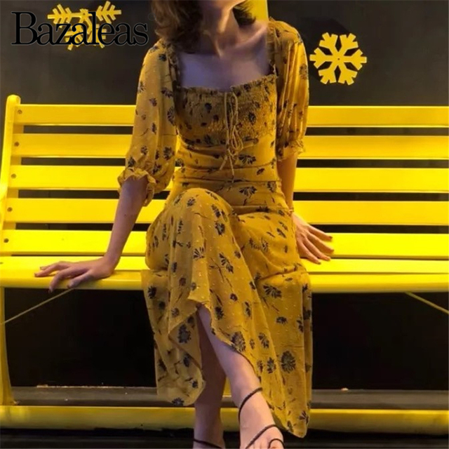 7abfa75d9081a US $18.53 30% OFF|Bazaleas 2019 Yellow Floral printed midi Dress Short  Sleeve summer Dress Vintage Elastic Bust tie in front Dresses vestidos-in  ...