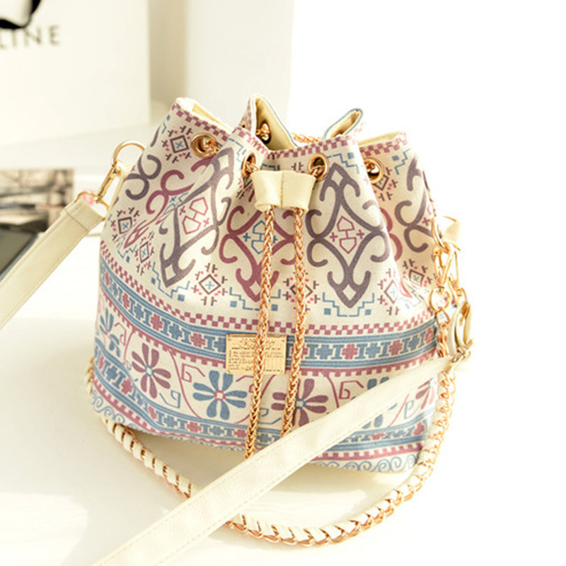 Bolsa para mulher 2019 bohemia estilo lona drawstring balde bolsa de ombro pérola bolsas femininas sacos do mensageiro