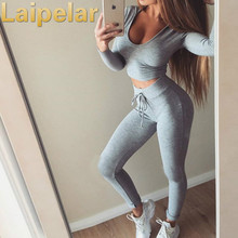2 piece set women tracksuit outfit two bandage crop top with legging sets  Slim Skinny leggings female