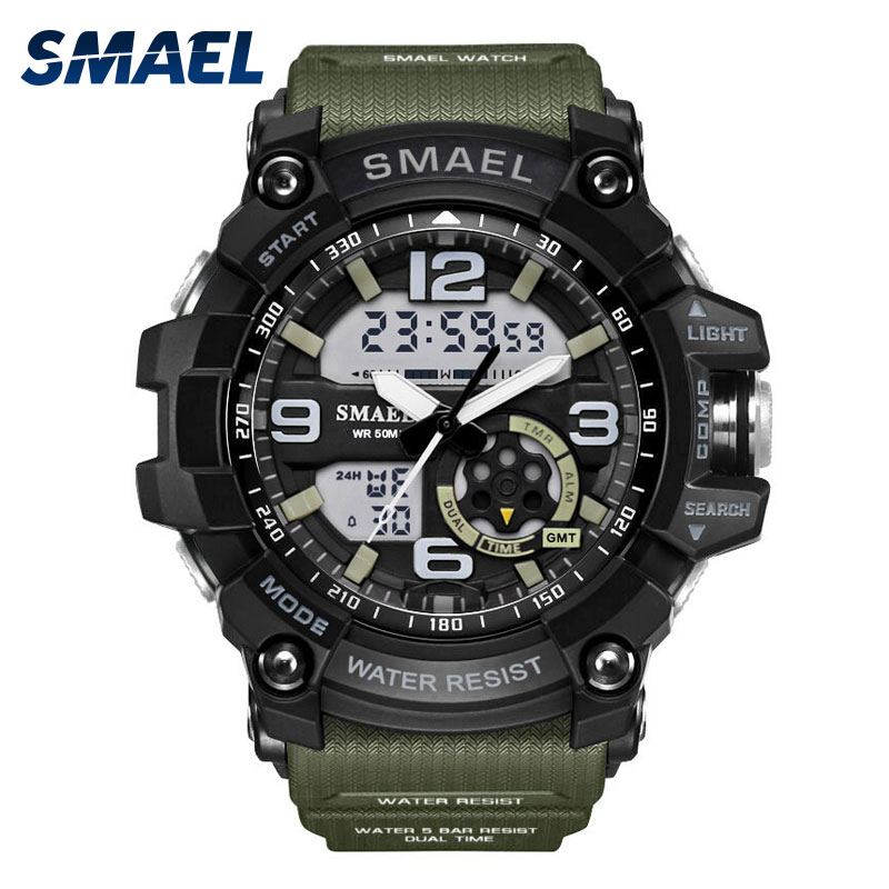 Big Dial Military Watches Army Outdoor Sport Watch Men Digital Watch LED Clock Dual Time Wristwatch Analog-Digital Gifts WS1617 weide new men quartz casual watch army military sports watch waterproof back light men watches alarm clock multiple time zone