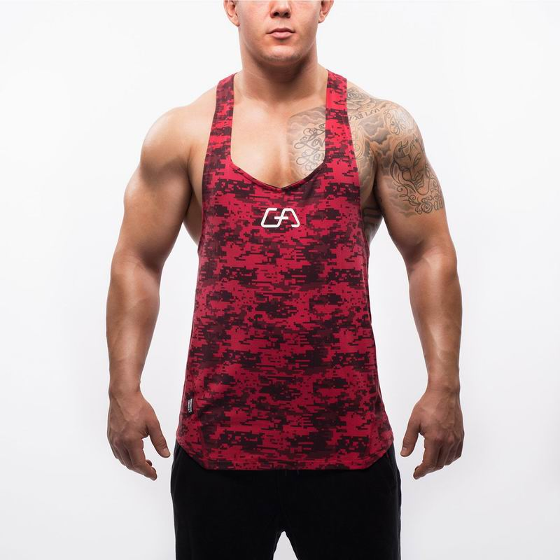2018 Fitness Men Camouflage   Tank     Tops   Gyms Stringer Vest Sleeveless   Tops   Casual Sportwear Y Back Racer Clothes