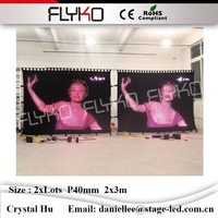 Flyko china sexy video tenda led wall display full color video hot P40mm 2x6 m