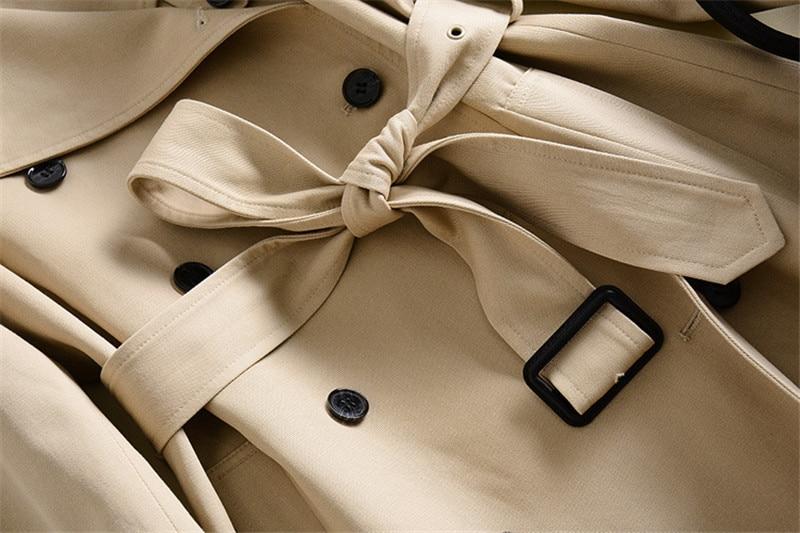 Ceintures Survêtement Manches Automne Double Boutonnage 2018 down Trench Mode À Femmes Poches Corée Manteau Collar Turn Vintage Longues w4T7nFq