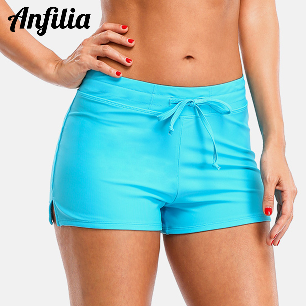 Anfilia Swimming Trunks Women Bikini Bottom Solid Color Swimwear Briefs Split Bandage Boy Shorts