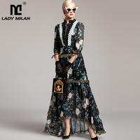Ladies' Autumn Winter Runway Dresses O Neck Lace Up Tiered Ruffles Party Prom Printed Floral Long Casual Designer Dresses