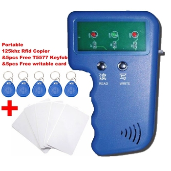 Portable 125KHz RFID Reader & Writer Duplicator Copier Programmer Device & 5 Free EM4305 T5577 Tag & 5 Free Writable Card free shipping rfid card thin size iso manchester 64 standard 125khz t5577 chip