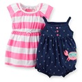D2-005,Original, New Arrived,Baby Girls 2-Piece Romper and Dress Set, Cute Pattern, Free Shipping