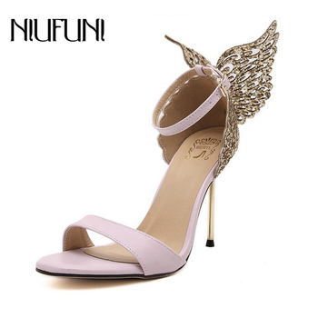 NIUFUNI 2020 Sweet Women Sandals Butterfly Thin High Heels Shoes Woman Summer Lady  Pumps Open toe Party Wedding Shoes original intention super sexy women sandals thigh high cut outs open toe thin heels sandals gold shoes woman plus us size 4 15