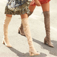 Fashion Women's Stretch Boots Sexy Hoof Heels Over The knee Boots Womens Original Tall Winter Snow Wellingtons Waterproof Boots