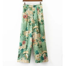 New 2017 Spring Streetwear Full Length Patchwork Women Wide Legging Pants Flower Printed Pants High Waist