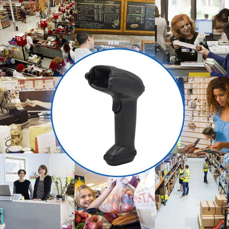 New 433 Wireless Laser Barcode Scanner With USB Receiver Rechargeable Handheld Cordless Bar Code Reader For POS Inventory QJ wireless laser barcode scanner 32 bit with memory easy charging cordless bar code reader for pos and inventory rd h2