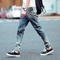 Mens Denim Joggers Trousers Light Washed Elastic Cuffed Jeans Pantalones Jogger Men Large Size Harem Pants