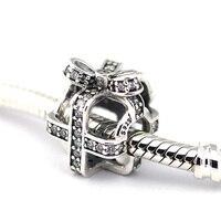 Tutto Avvolto Perline 100% 925 Sterling Silver Clear CZ Branelli di fascino per Jewely fare Misura I Braccialetti FAI DA TE Fine Jewelry PF302