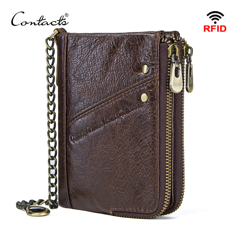 CONTACT'S genuine leather wallets for men RFID short wallet zipper men's small coin purse male portomonee card holder man walet j quinn bifold male coin walet thin purse with card id flap leather wallet genuine cowhide small short mens wallets causal new