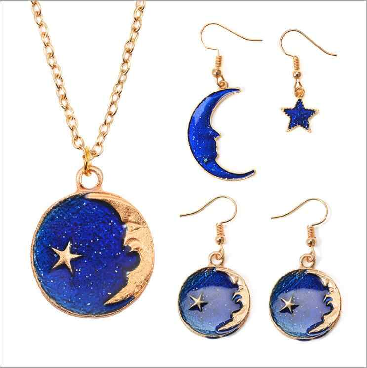 New Arrival Unique Design Blue Starry Sky Moon Necklace Earrings Women Jewelry Set Bijoux Jewelry Gift E5190