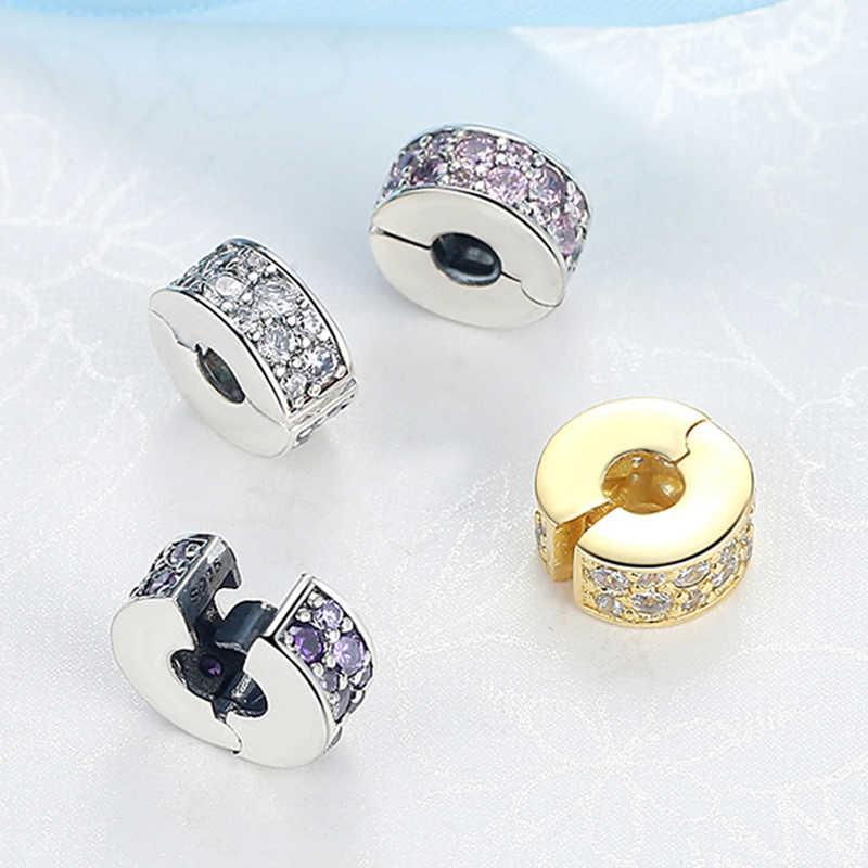 100% elegantes brillantes con abalorios de cuentas de plata esterlina 925, abalorios de circonita cúbica compatibles con pulseras Pandora originales, joyería Diy para mujer