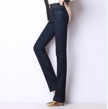 Casual Jeans straight denim pants for women plus size embroidery high waist female trousers autumn spring