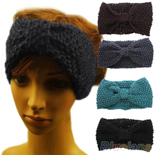 Hot Winter Crochet Flower Bow Knitted Head Headband Headwear Hiarband Ear Warmer Hair Muffs Band Women  0IMB