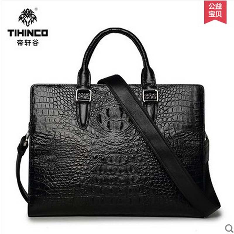 TIHINCO Men handbags crocodile document laptop bag leather business high-end luxury cross section one shoulder inclined  bag tihinco new authentic crocodile handbag single shoulder bag leather male fashion business and leisure bag document package