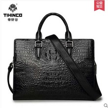 TIHINCO Men handbags crocodile document laptop bag leather business high-end luxury cross section one shoulder inclined  bag
