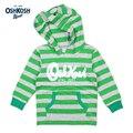 Meney/OshKosh 2017 Meninos Ao Ar Livre Com Capuz Roupas Casuais para Crianças Bolsos Listrado Verde de Mangas Compridas Camisolas Hoodies Do Bebê