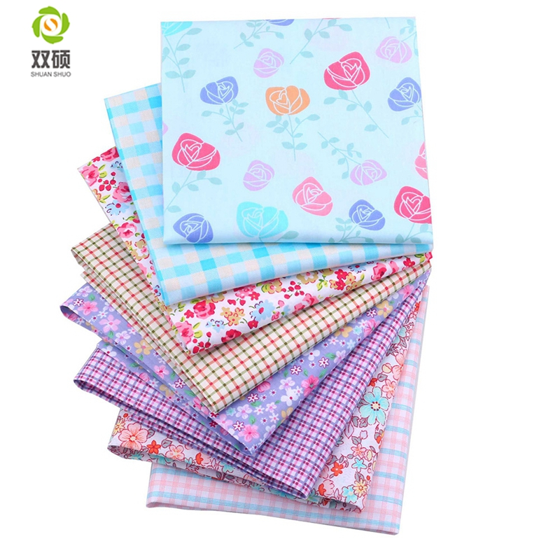 Twill Cotton Fabric Patchwork Blomsterdukduk av Håndlaget DIY Quilting Sy Baby og Barneske Kjole 40 * 50cm 8pcs / lot