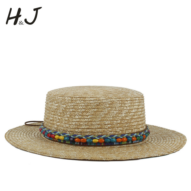 18393b4cdd7 100% Wheat Straw Women Boater Sun Hat For Lady Summer Bohemia Beach Flat  Sunbonnet With Wide Brim Fashion Belt Size 56-58CM