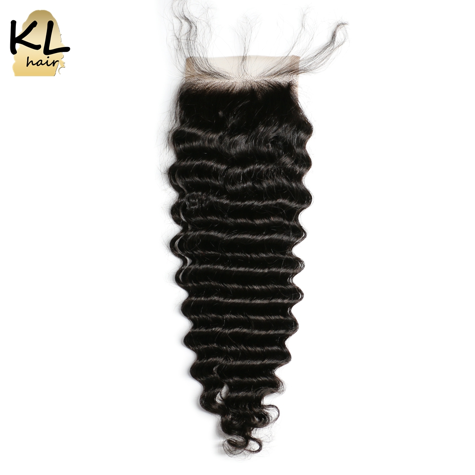 KL Hair 4x4 Deep Wave Lace Closure Human Hair Natural Color Brazilian Remy Hair Free Middle
