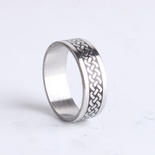 Hemp flowers carved silver 316L Stainless Steel finger rings for women men wholesale(China)