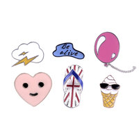 1 PC Balloon Ice Cream Brooch Slippers Brooches Metal Badges Decoration