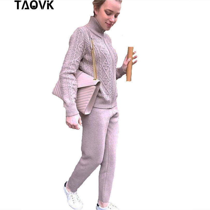 TAOVK sweater suits twist zipper stand collar cardigan loose Pants 2 Piece Sets Dense Warm Knit