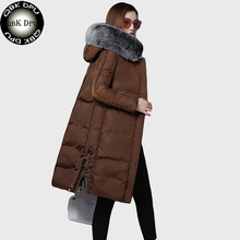 QBKDPU 2017 New casual Thick Jacket women winter long jacket faux Fox Fur Collar Hooded Woman Parka Womens cotton padded Coats
