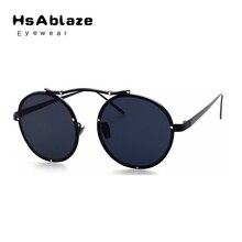 HsAblaze Gafas de Metal Marco Redondo Retro gafas de Sol Reflectantes gafas de Sol Mujeres Espejo Pareja hombre Ryewear Gafas De Sol Hombre