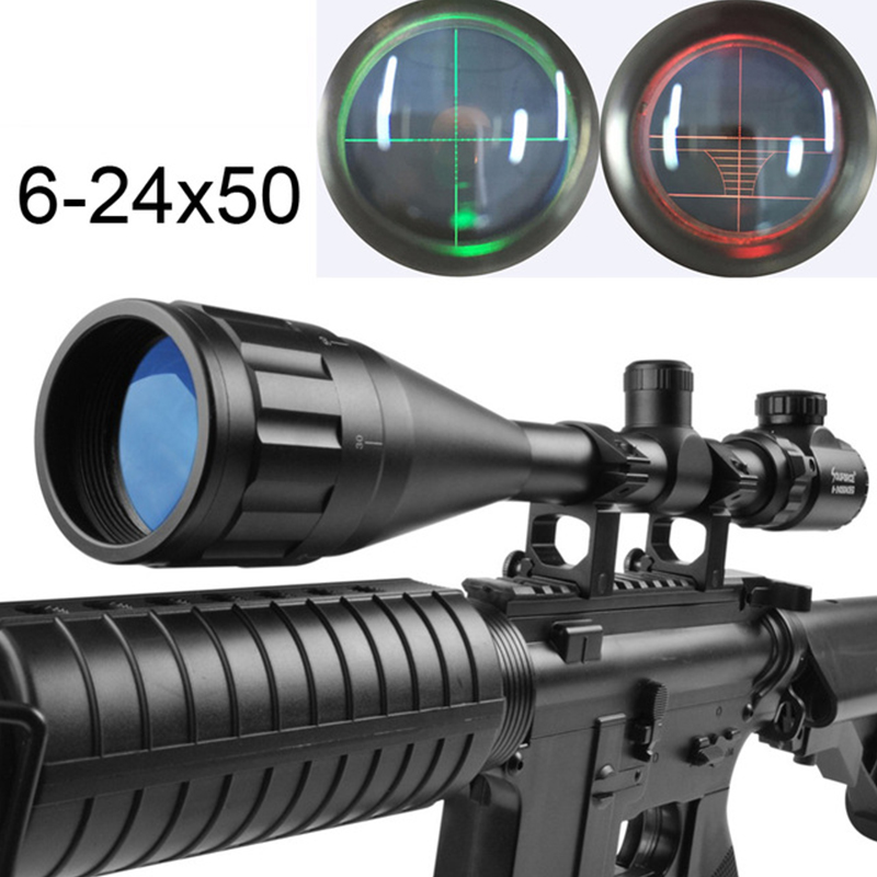Beileshi 6-24X50AOEG Green Red Mil Dot / Rangefinder Reticle Tactical Riflescope for Hunting Rifle and Airsoft Scope Sight 18000lm 15x xml t6 led rechargeable flashlight torch handlamp headlight 4x18650 battery charger