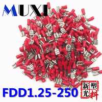 FDD1.25-250 Female Insulated Electrical Crimp Terminal for 0.5-1.5mm2 Connectors Cable Wire Connector 100PCS/Pack Red