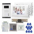 "FREE SHIPPING New 7"" Video Intercom Apartment Door Phone Kit 2 White Monitors 1 Outdoor Camera for 2 Family + RFID Access System"