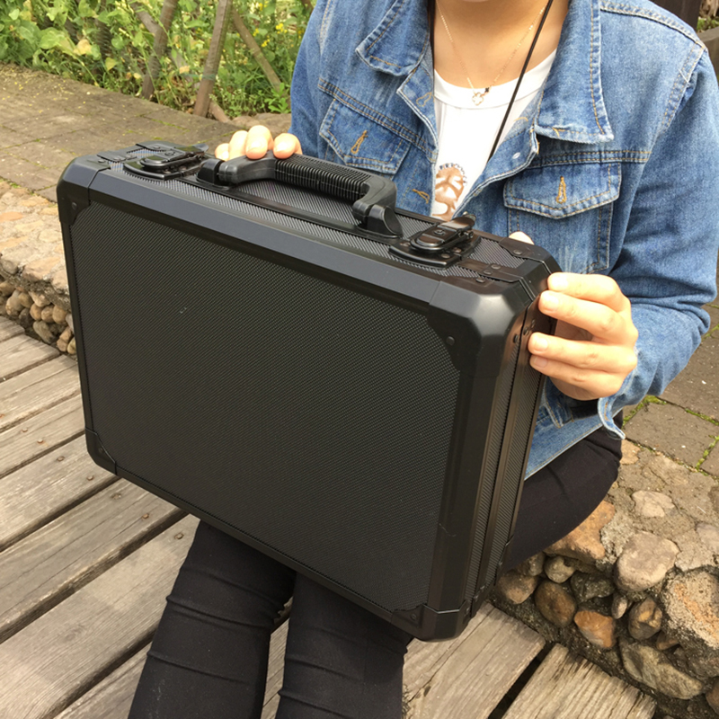 Aluminum Tool Case Suitcase Toolbox File Box Impact Resistant Safety Case Equipment Camera Case With Foam Lining