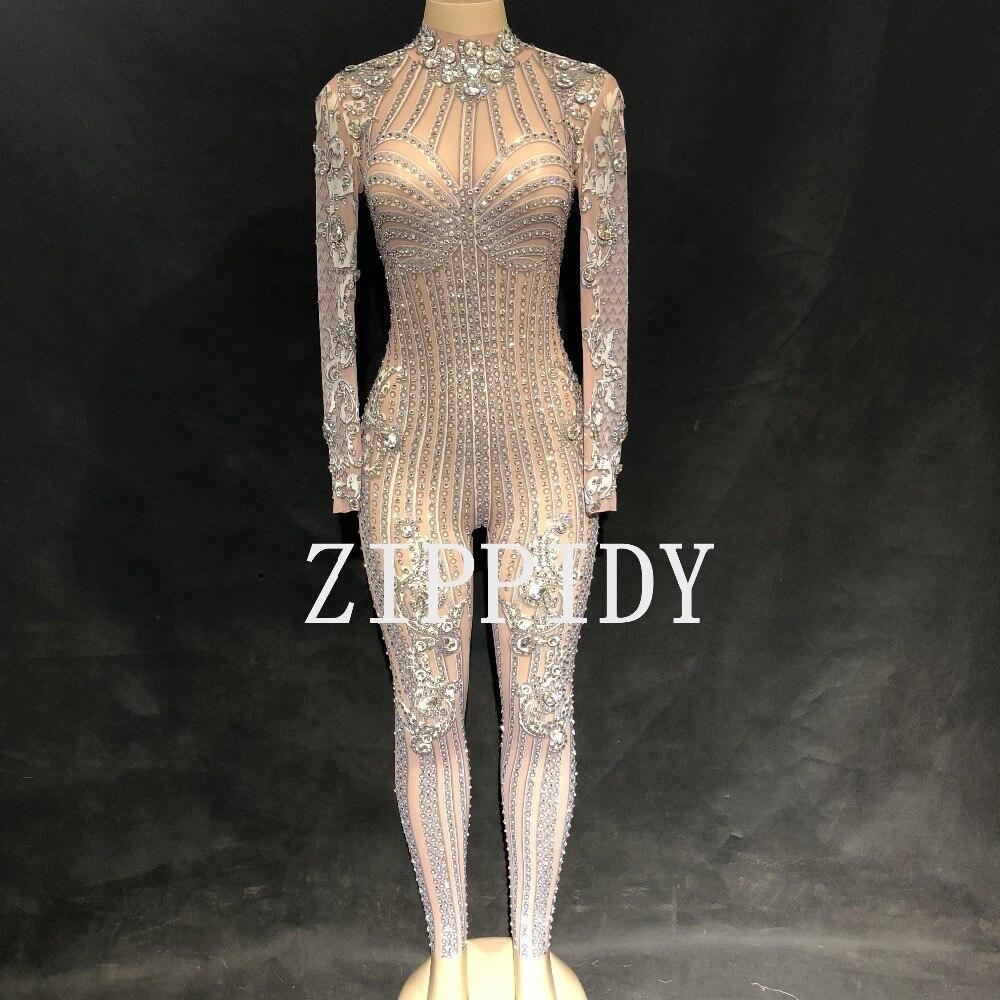 Body Salopette Au Mode Perspective De Brillant Mesh Strass Travers Célébrer Anniversaire Usure Voir Danse Sexy Bal Chanteur ffXwaq
