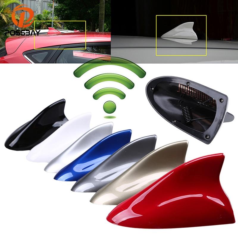 POSSBAY Universal Car Shark Fin Antenna Roof Decorative Antenna Aerial Auto FM AM Signal Amplifier for Chevrolet Kia Ford BMW VW