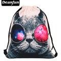 Deanfun 2016 mujeres mochila impresión bolsa de picnic mochila feminina bolso de lazo para hombre mochilas harajuku gafas de sol de gato