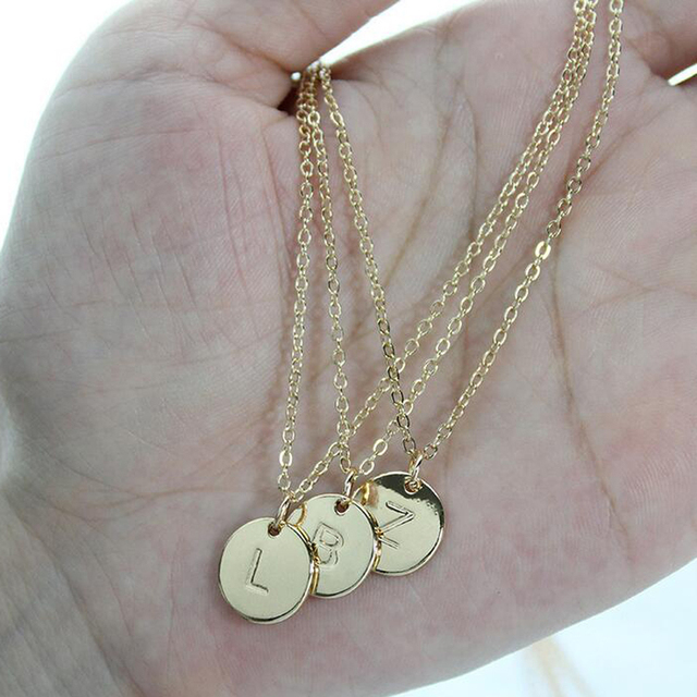 26 Letters Initial Necklace Silver Gold Color Disc Necklace Alphabet Women Kolye