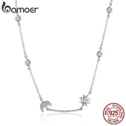 BAMOER 100% стерлингового серебра 925 Игристые луна и звезды изысканный кулон ожерелья для Для женщин 925 Серебряные ювелирные изделия подарок SCN272